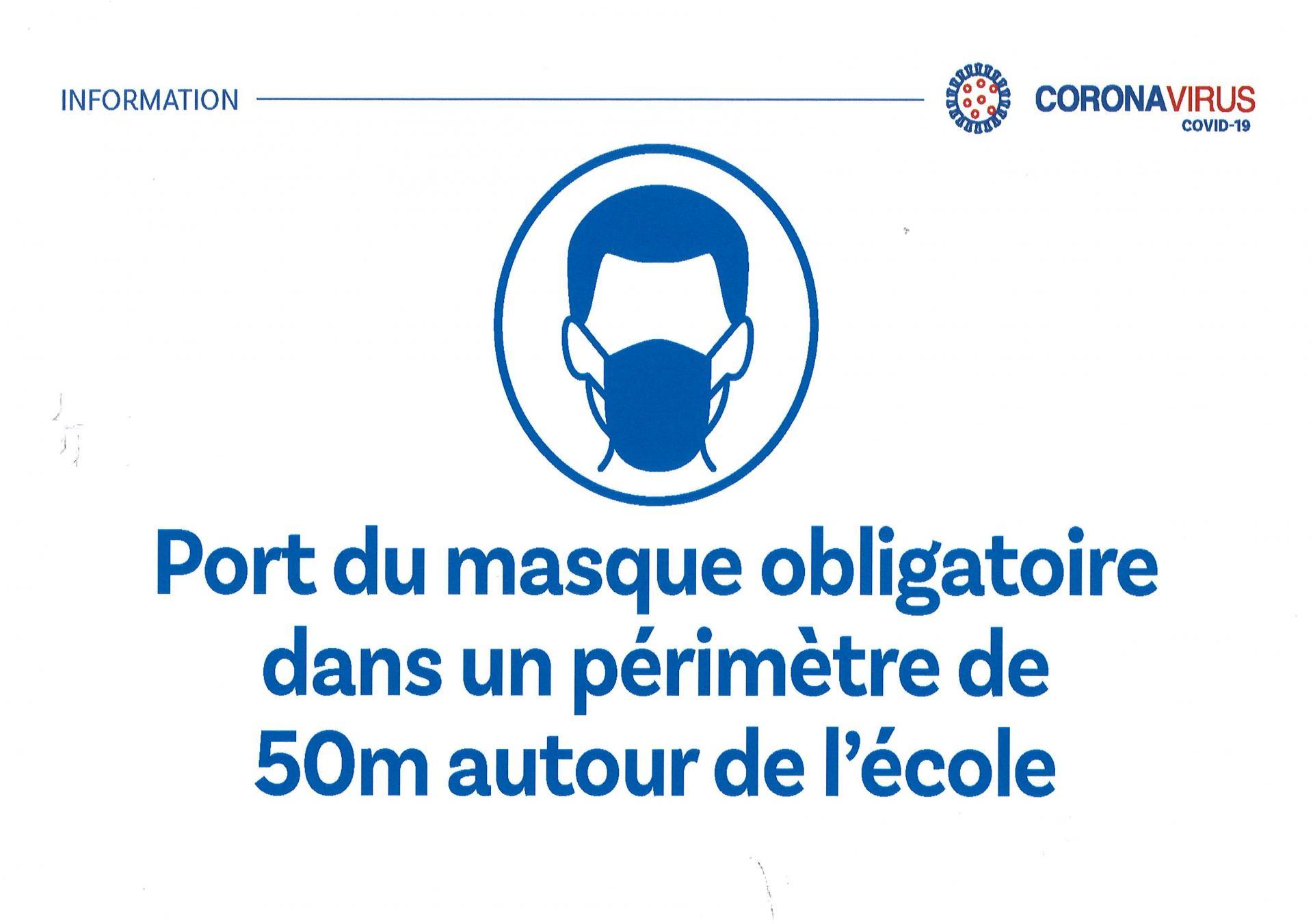 Affiche Port du masque obligatoire 50 mètres