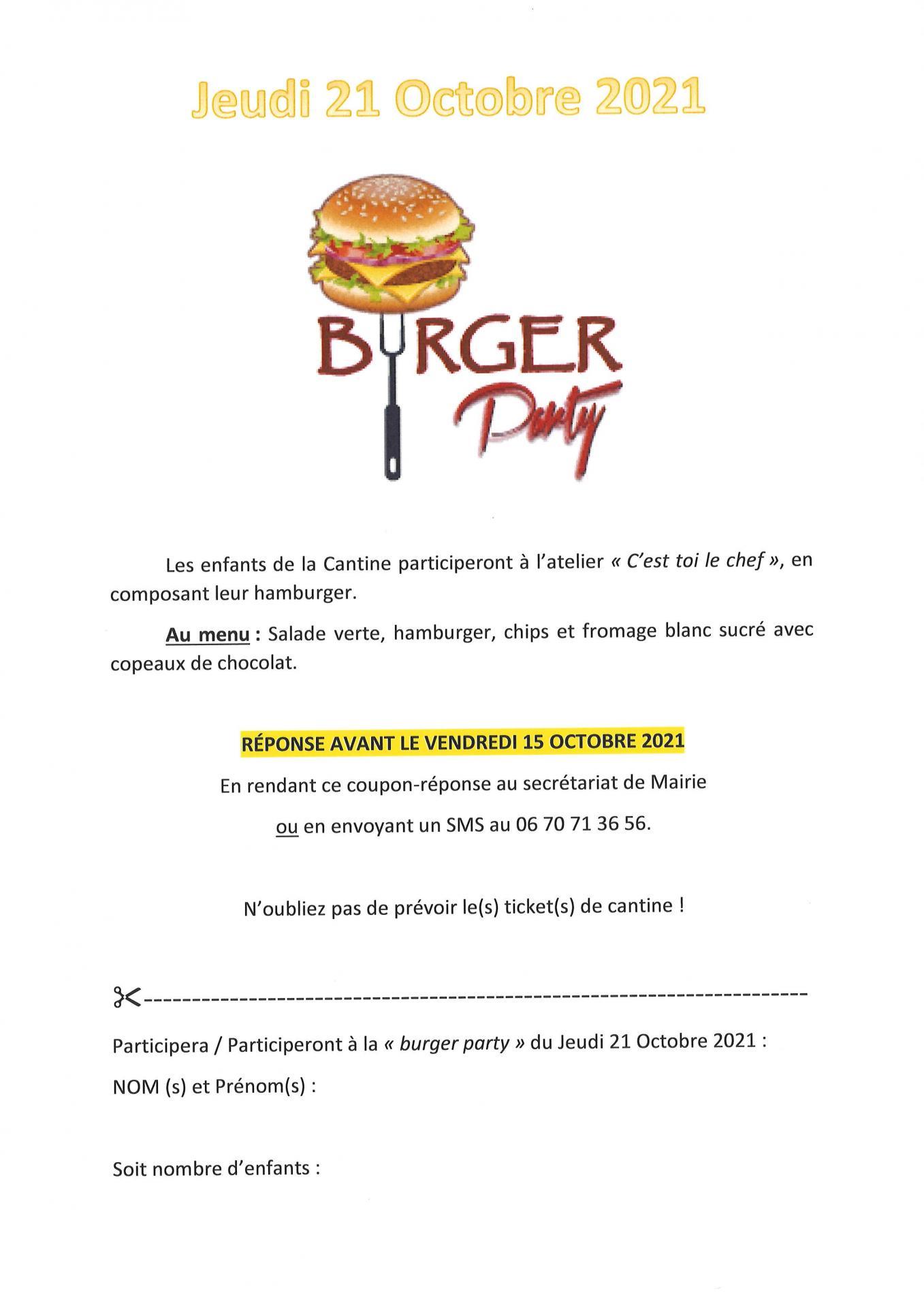Burger party 21 octobre 2021