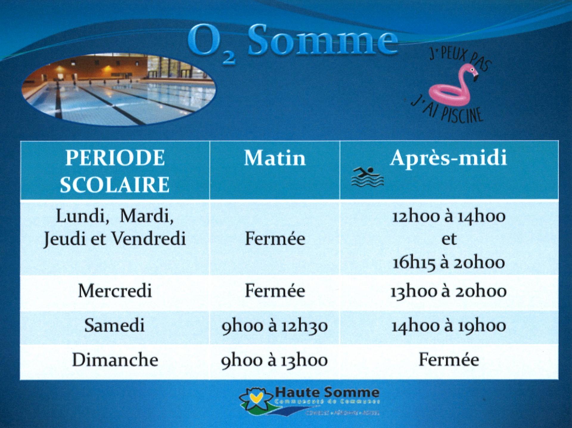Horaires Piscine de Péronne à partir du 9 juin 2021
