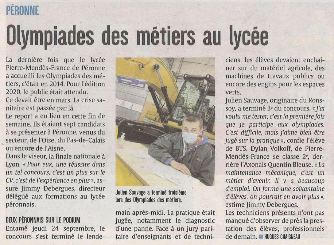 Julien SAUVAGE, classé 3eme aux Olympiades des Métiers, Le Courrier Picard du lundi 28 Septembre 2020