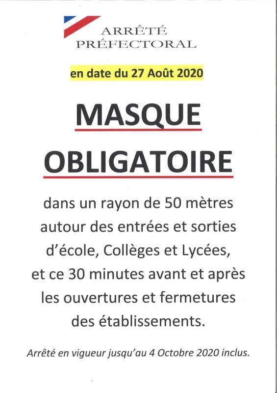 Masque obligatoire par Arrêté Préfectoral du 27 Août 2020