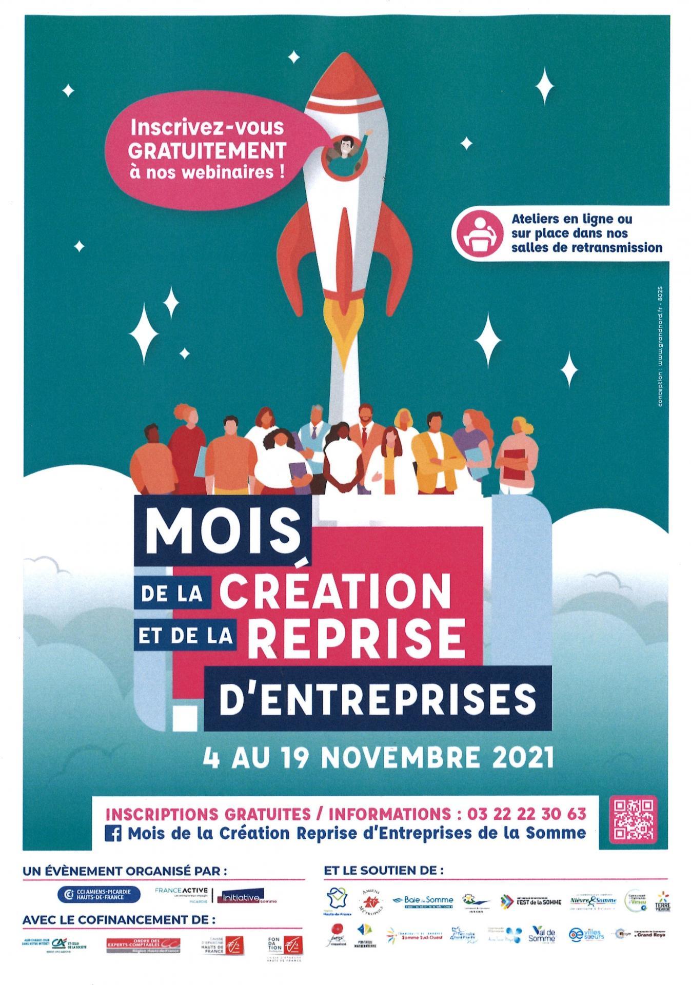 Mois de la création d'entreprises 4 au 19 novembre 2021