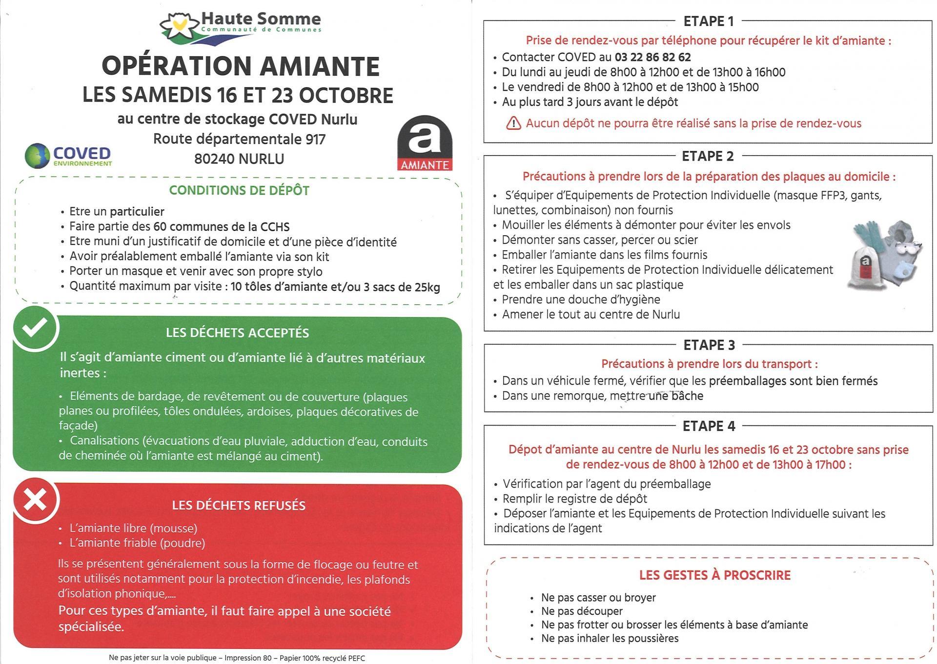 Opération AMIANTE 16 et 23 Octobre 2021