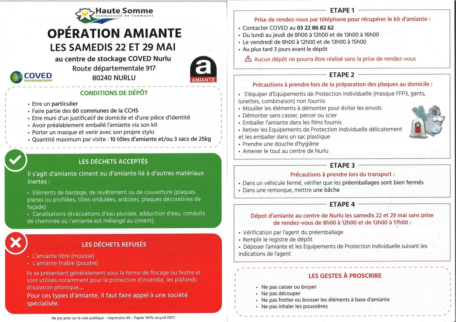 Opération AMIANTE samedi 22 mai et samedi 29 mai 2021