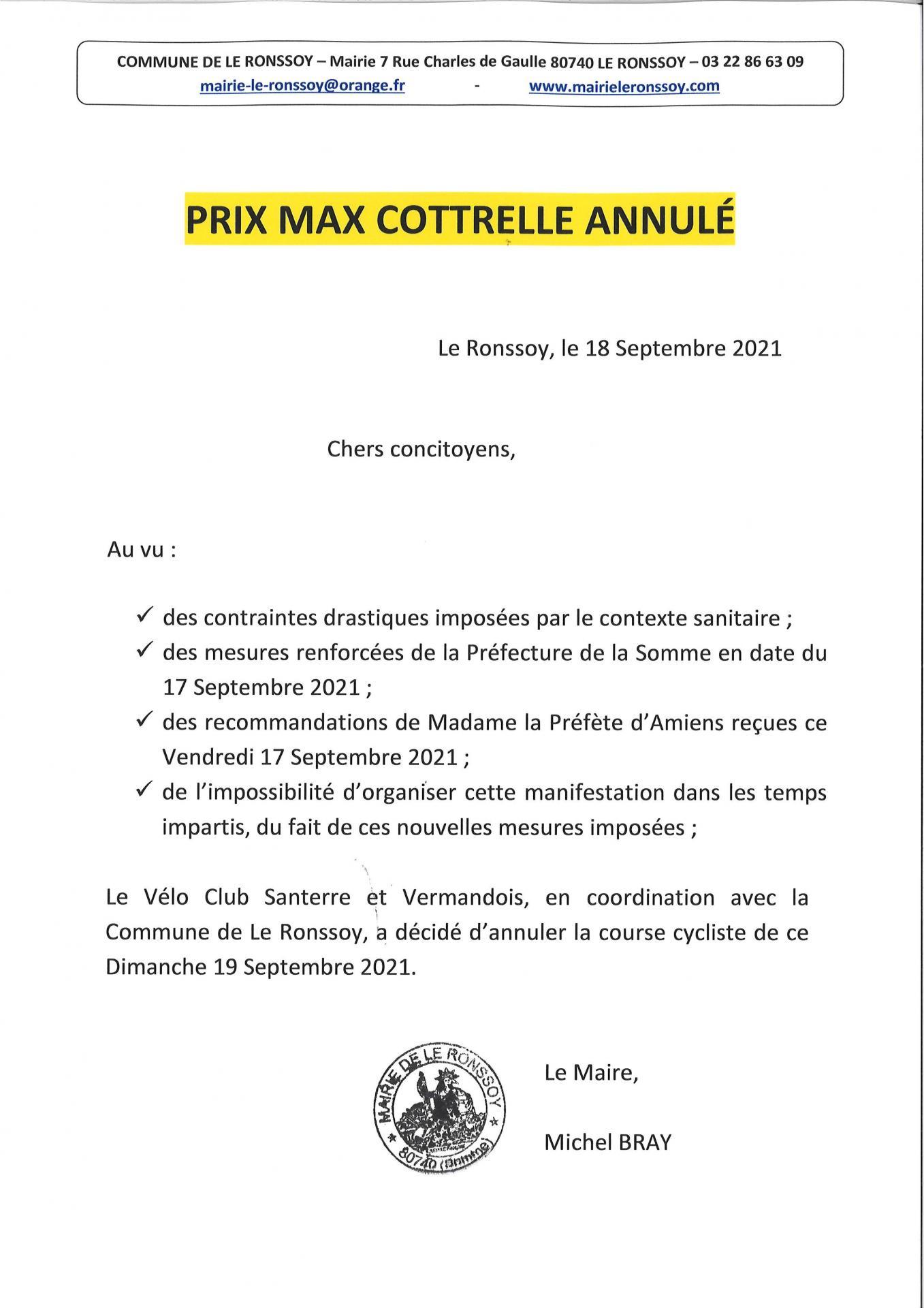 Prix Max Cottrelle annulé 2021