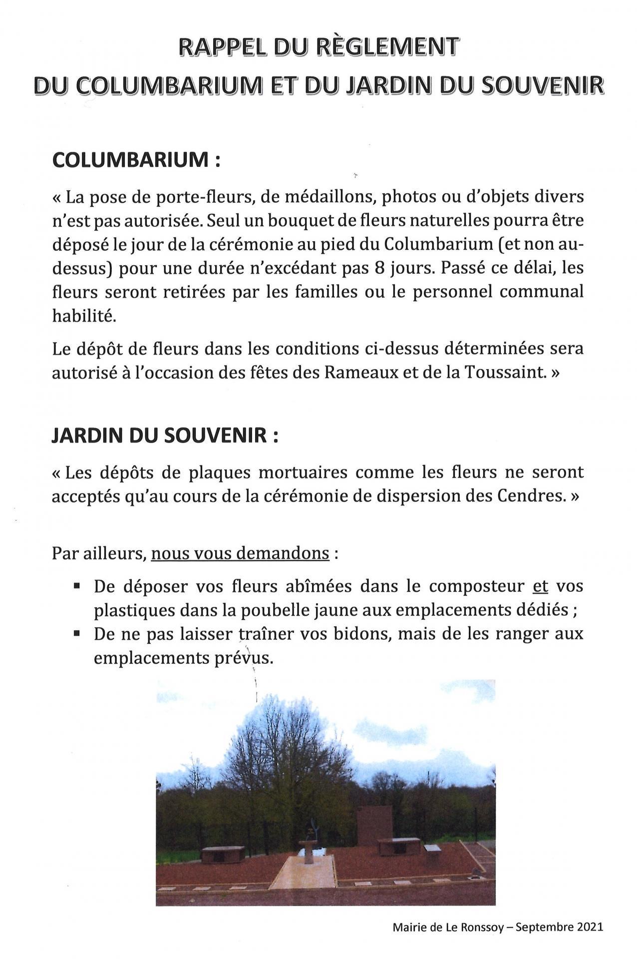 Rappel Règlement Columbarium et Jardin du souvenir