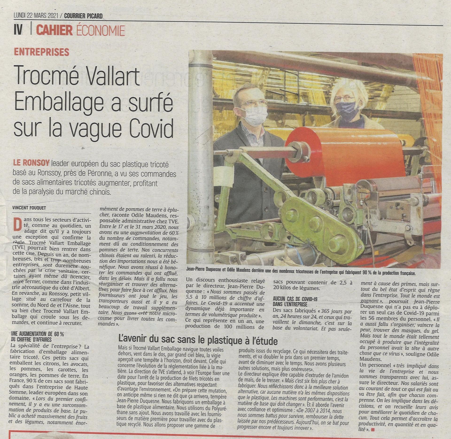 Tve Article Le Courrier Picard 22 mars 2021